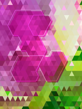 Purple and green triangle pattern with hexagon line