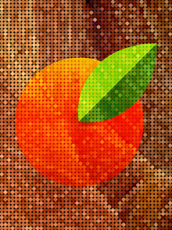 Abstract orange and leaf on golden dot pattern