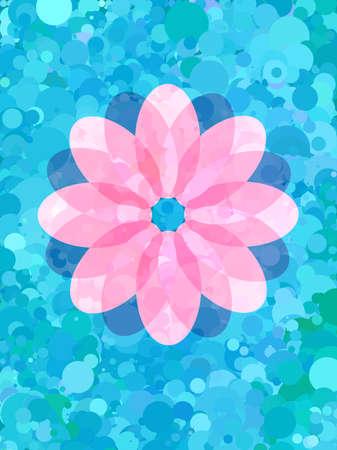 Abstract Pink flower on blue circle pattern Çizim