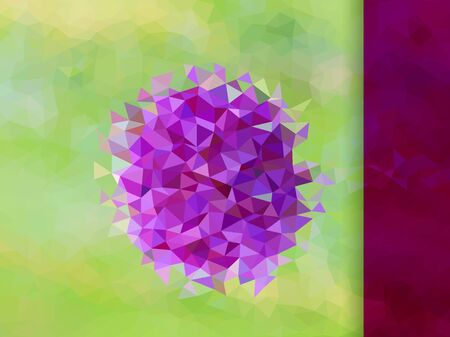 Abstract violet flower on green triangle pattern