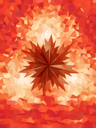 Red geometry background with the brown sharped maple Çizim