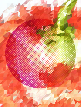 Abstract red apple in triangle pattern and dot screen