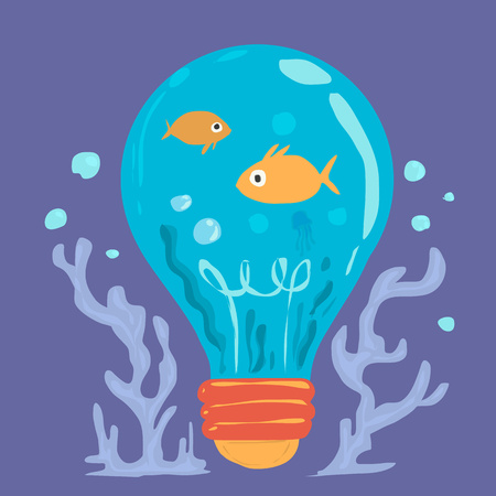 Fish and ocean in blue bulb