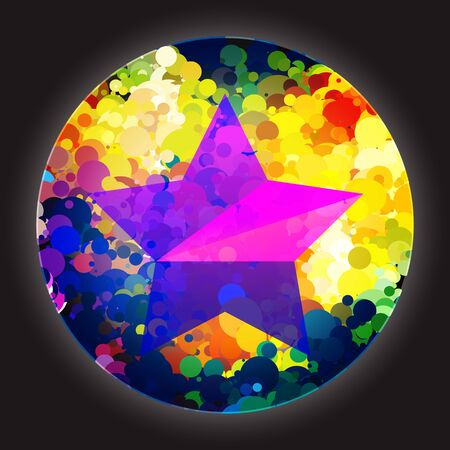 Colorful circle and pink star
