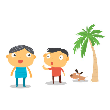 Two men on the beach in cartoon character
