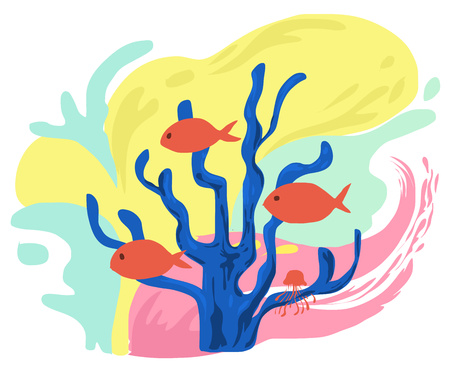 Colorful of under the sea in cartoon style