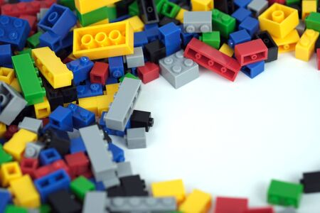 Colored toy bricks with the place for your content.