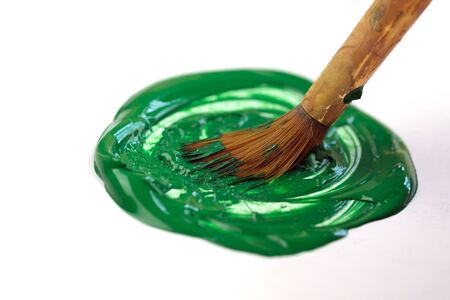 Art brush, with the green color on white background