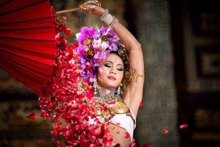 lanna: An elegant Lanna woman ChiangMai North Thailand Stock Photo