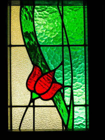 glass doors: Stained red flowers with green leaves, warm light through.