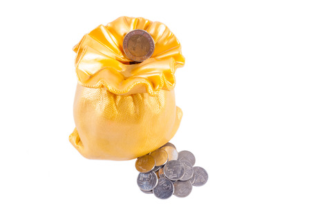 piggy bank and thai coin isolated on white background photo