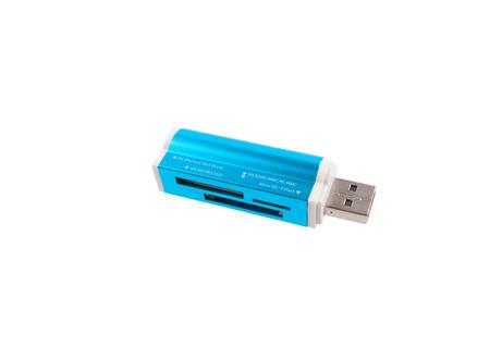 mmc: Blue cardreader isolated on white background Stock Photo