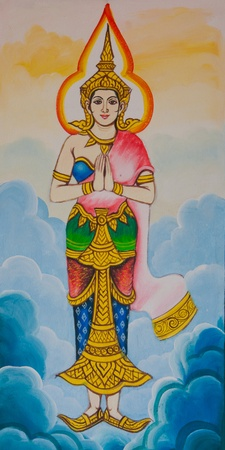 Drawings Wai Thai women  Stock Photo - 13381464