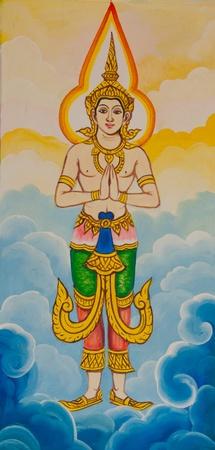 Drawings Wai Thai men Stock Photo - 13381463