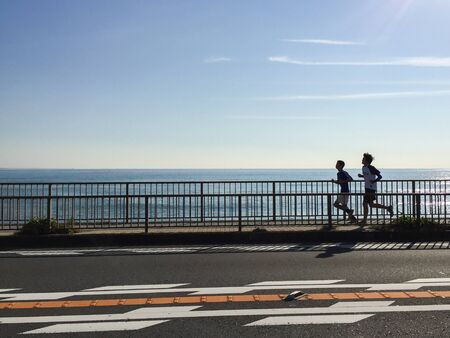 Jogging at the beach kanagawa japan