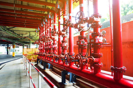 System of water pipes and control valves of The water system in the department store.For use inside department store and fire protection system. Stockfoto