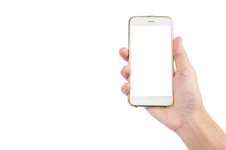 smartphone with white screen in hand with showing isolated on white background with wear gold case