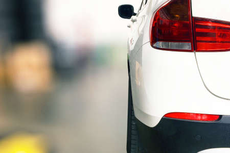 close up back white car isolated bokeh blur background
