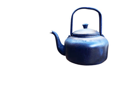 Antique aluminum water kettle Had been used already on white background