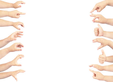 collection hand of fat girl in gestures isolated on white background