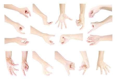 multiple collection hands in symbol gestures of man's hand on isolated on white background