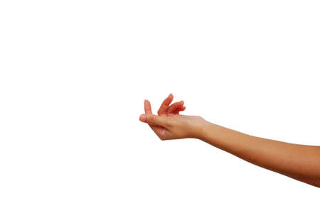 left hand of Asian woman show is beckoning gesture isolated on white background for call person or something