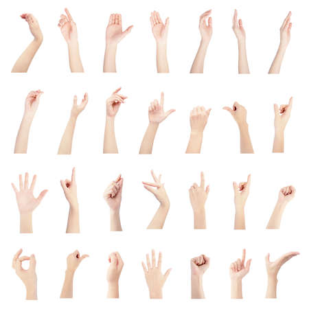 multiple collection right hand of woman in gestures and white skin isolated on white background