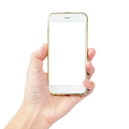 left hand is hold smartphone with gold case isolated on white background