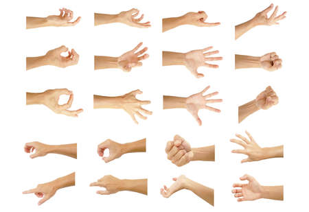 multiple hand with gestures of asian man for symbol to show out isolated on white background Stock fotó