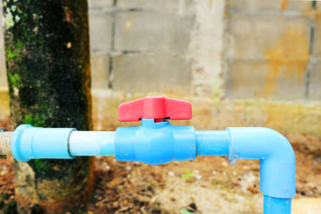 Plastic water valve of pvc pipe at outdoor
