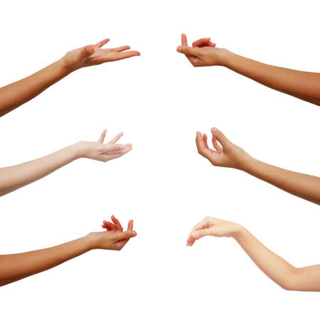 hand of Asian woman in multiple collection from gestures on isolated on white background