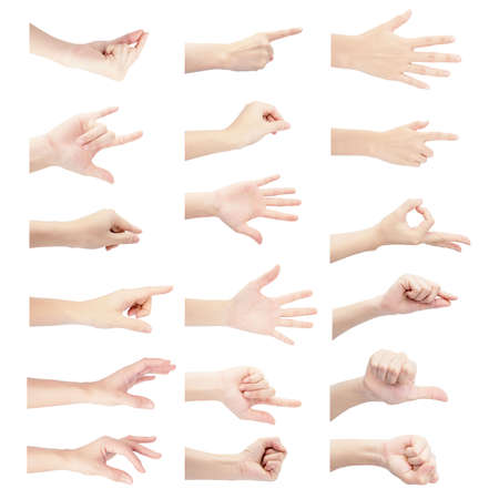 multiple collection hand of woman in vertical gesture isolated on white background