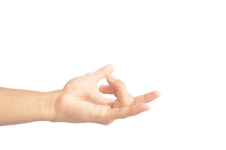 show hand is gesture of snap isolated on white background