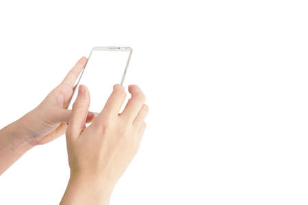 hand of Asian woman is holding smartphone for use with white screen isolated white background