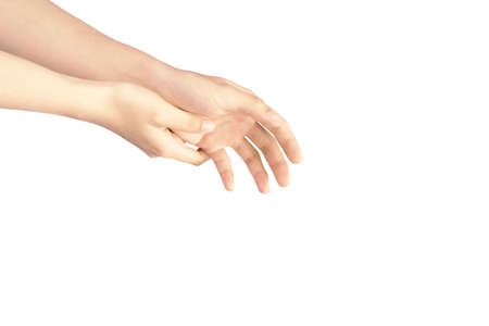 The gestures of both hands are reaching down, grab something separately on the white background.