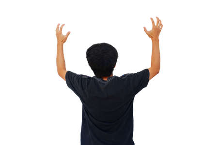 man is show angry gesture By raising hands isolated on white background
