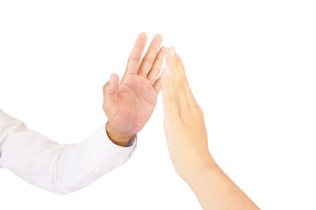 """both hand gesture is show """"give me five"""" gesture isolated on white background"""