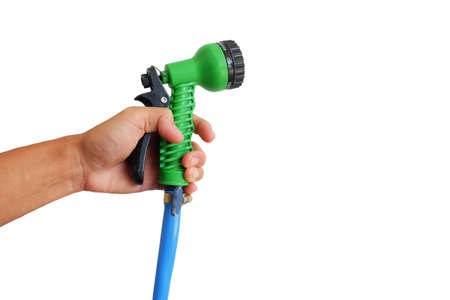 hand of man is hold Water sprayer for vegetable watering isolated on white background