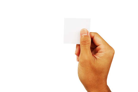 show hand of man in gesture hold card or note paper up isolated on white background