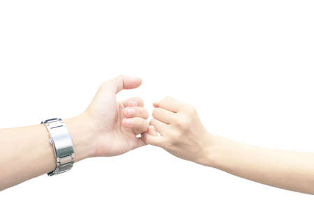 The gesture of the couple's hands are about to split their fingers together on a white background.