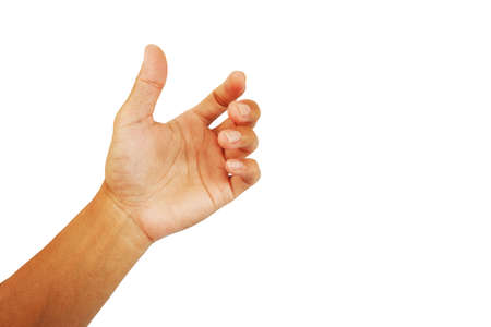 show hand of man in grab up gesture isolated on white background