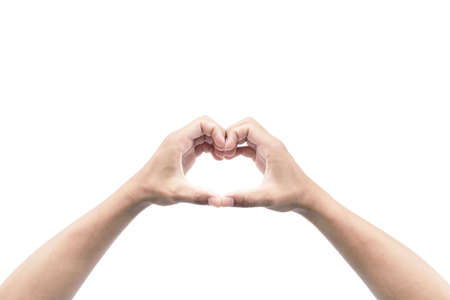 show hand of man is heart shape gesture isolated on white background Stock fotó