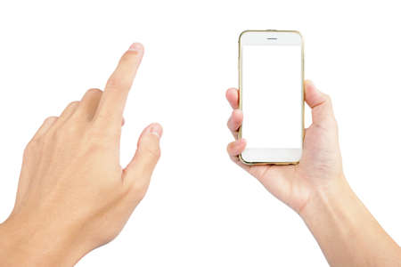 smartphone with white screen in hand for using in technology isolated on white background