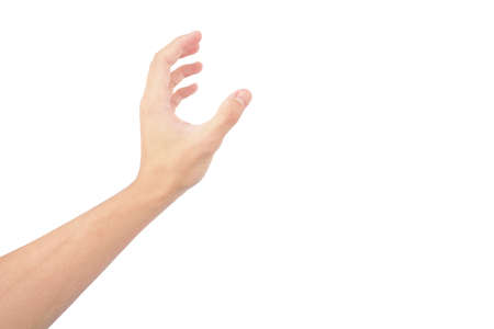 hand of man show in gestures isolated on white background with white skin 版權商用圖片