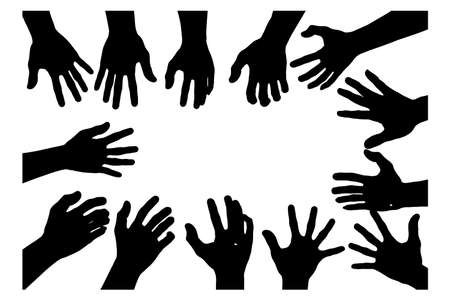 hand collection in silhouette with show palm in clip art icon multiple of design by vector on white background