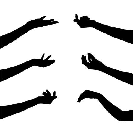 hand collection in silhouette clip art icon on white background with design by vector