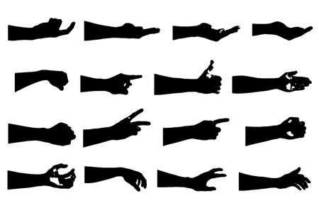 hand collection in silhouette clip art icon multiple design by vector on white background Ilustração