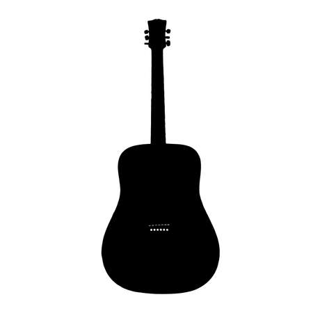 guitar clip art in silhouette design by vector on white background