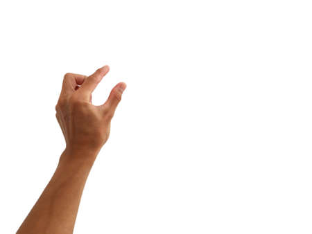 show hand up is in gesture of take,touch,press on white background