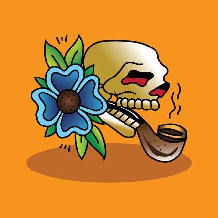 Skull Pipe Tattoo. Illustration